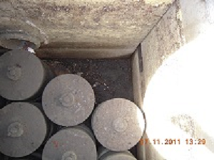 Photo of inside a catch basin with filter canisters